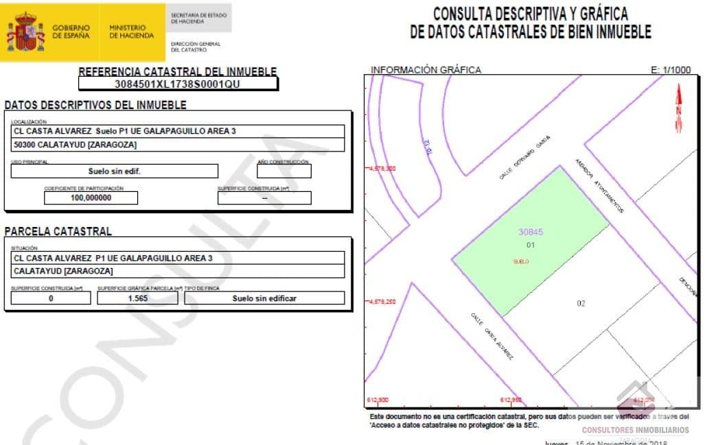 For sale of land in Calatayud