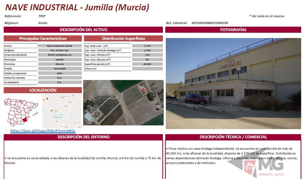 For sale of industrial plant/warehouse in Jumilla